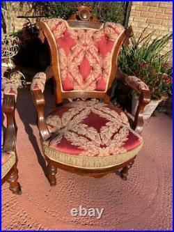 1800s VICTORIAN PARLOR SET ALL MATCHING UNIQUE 3 PIECE
