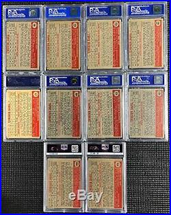 1952 Topps Starter Set Lot of 10 cards all graded PSA 8 NM-MT Near Mint Baseball