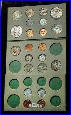 1955 Double Mint Set P, D, S with OGP All Original Coins Choice BU A+ Toning