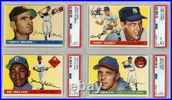 1955 Topps Baseball Cards Near Complete Set (149/206) All PSA Graded Mid Grade