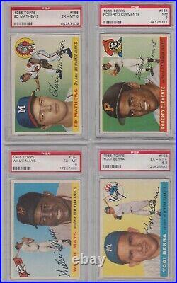 1955 Topps Baseball Complete Set 206/206 All Psa Graded Clemente Koufax Psa 7 Nm