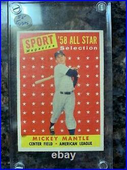 1958 TOPPS #487 MICKEY MANTLE ALL STAR VINTAGE BASEBALL CARD HOF @Cpeedlimit