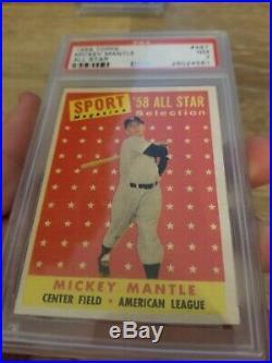1958 Topps #487 Mickey Mantle ALL STAR set break PSA 7 NO RESERVE/True Auction