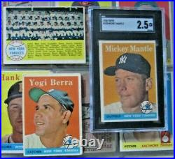 1958 Topps Baseball Near Complete Set 491/494 All The Stars Graded Mantle Ex-