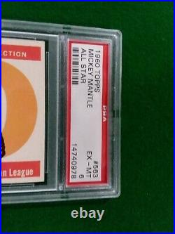 1960 Topps #563 Mickey Mantle All-Star High Number PSA 6 SET BREAK