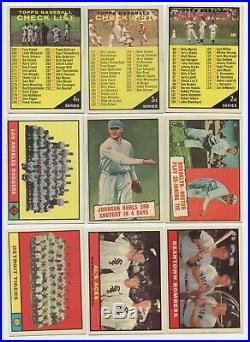 1961 Baseball Topps Lot Mid Gr 417/589, Mantle Aaron Mays, 24 Hi #s, 9 All-Stars