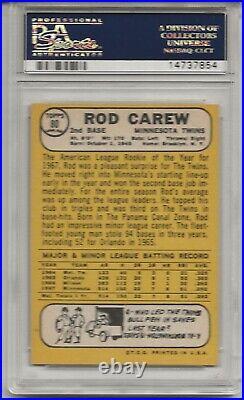 1968 Topps #80 Rod Carew, Psa 8 Nm-mt, Set Break All-star Rookie, Hof, Twins