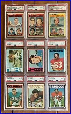 1972 TOPPS FOOTBALL PARTIAL SET OF 150 ALL PSA 8s WITH BEAUTIFUL STAUBACH RC