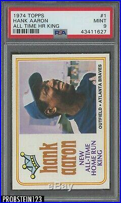 1974 Topps #1 Hank Aaron All Time HR King Braves PSA 9 MINT 1st CARD IN SET