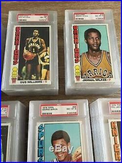 1976-77 Topps Basketball Graded Psa 8 Partial Set 70/144! Hof's/stars All 8's