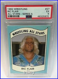 1982 Wrestling All Stars Hulk Hogan Rookie PSA 5 + 1982 Ric Flair Rookie WWE