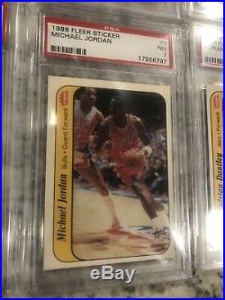 1986-87 1986 Fleer Basketball Complete Set Stickers Michael Jordan All Psa 7