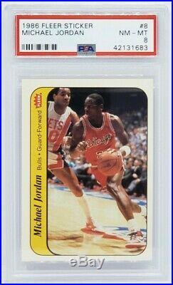 1986-87 Fleer Basketball ALL PSA 8 132 card set and the 11 card Sticker set