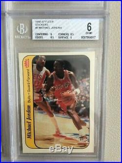 1986 87 Fleer Basketball Sticker Set 1-11 Michael Jordan All Bgs 6. Invest Now $