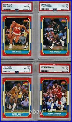 1986 FLEER BASKETBALL SET 102/132 NO MICHAEL JORDAN ALL PSA 8 or better (READ)