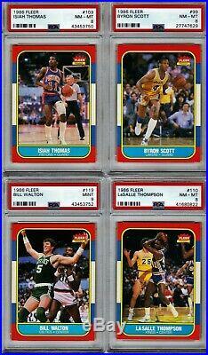 1986 FLEER BASKETBALL SET, NO MICHAEL JORDAN ALL PSA 8 or better BEAUTIFULL SET