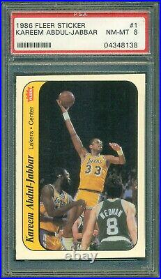 1986 Fleer Basketball Complete Set (132) with Stickers (11) ALL PSA 8 Jordan
