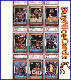 1986 Fleer Basketball PSA 8 Complete Set 132/132 all Graded with Michel Jordan