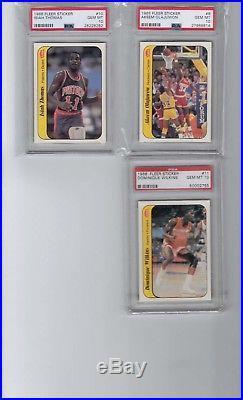 1986 Fleer Basketball Sticker Complete PSA 10 Set Jabbar, Jordan, all 11 cards
