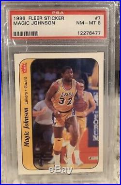 1986 Fleer Basketball Sticker Set All Psa 8 Jordan Rc Magic Isiah Jabbar Bird