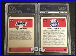 1986 Fleer Stickers Set 10/11 All Psa 8 Nq Olajuwon Bird No Michael Jordan