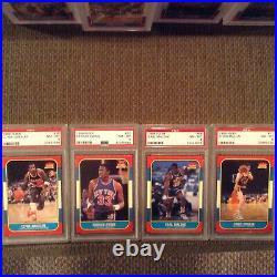 1986 Fleer basketball set All PSA 8 (NQ) No MJ 131/132
