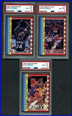 1987-88 FLEER Basketball Complete Sticker Set (1-11) All PSA 8 NM-MT Jordan 2nd