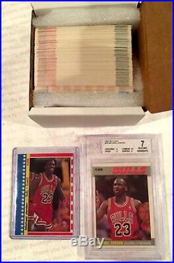 1987-88 Fleer Basketball Set with All Stickers (Includes BGS 7 NMt Michael Jordan)