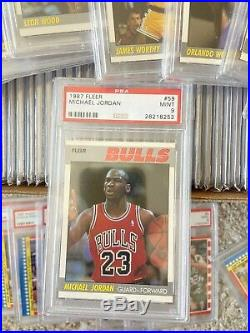 1987 Fleer Basketball Set All PSA 9 NQ Complete Set 143/143 Plus Stickers