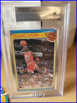 1988 Fleer Basketball Michael Jordan ALL-STAR #120 BGS 9 MINT + set! L@@K