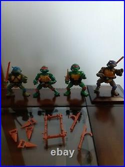 1988 TMNT LOT ALL x4 ORIGINAL soft HEAD TURTLES Complete Set weapons rack belts