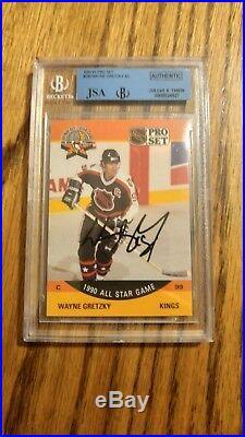 1990-91 Wayne Gretzky Pro Set Auto Autographed Beckett JSA #340 Encased All Star