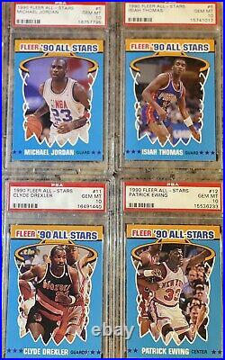 1990 Fleer All Stars SET- ALL PSA 10 GEM MINT! Michael Jordan #5, Magic, Bird