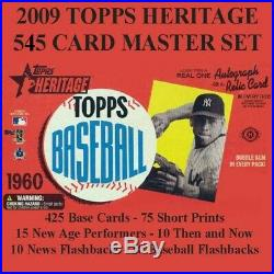 2009 Topps Heritage Master Set with 545 Cards All SPs, Base & Four Insert Set