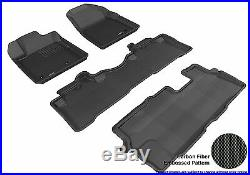3D Anti-Skid 1 Set Fits Pilot 2009-2015 GTCA66833 Black Waterproof Auto Parts Pe