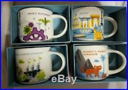 4 New Starbucks Disney World YOU ARE HERE Mugs Set All 4 Parks Ceramic 14 oz
