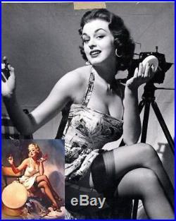ALL SET Elvgren Original Painting Model AUTOGRAPH Rare famous PINUP Movie Actor