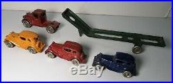 All Original AC Williams 14 Austin Car Hauler Set Carrier Truck Hubley Arcade