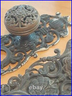 All Original Bronze Victorian Entry Door Set With Dolphins Old Hardware