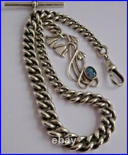 All original Edwardian solid silver pocket watch albert chain & gem set fob. 59g