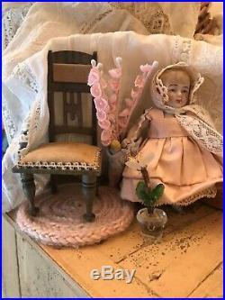 Antique German All Bisque Miniature Doll Set