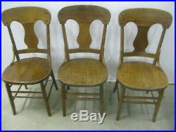 Antique Set of Six Matching Oak Dining Chairs Solid Seats All Original