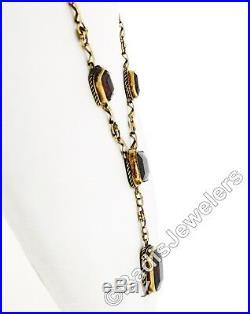 Antique Victorian 14K Gold Rectangular Garnet Necklace Bracelet Set ALL ORIGINAL
