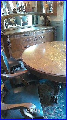 Antique oak dining set, 60 table, 72 sideboard, 7 chairs, all original finish