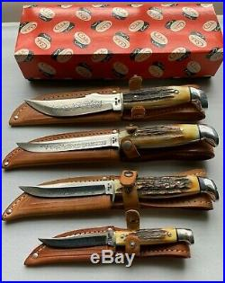 Case xx blue scroll fixed blade set stag all 4 knives in box mint and sweet1977