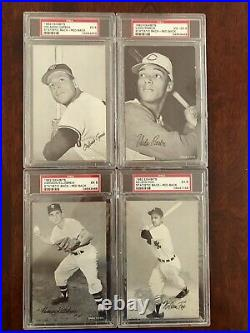 Complete1962 Exhibit Rare RED Stat Back Set ALL 32 Cards PSA Aaron Mantle Mays+