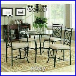 Dining Room Set Round Table Chairs 5 Pc Kitchen Space Saving Dinette Glass Top