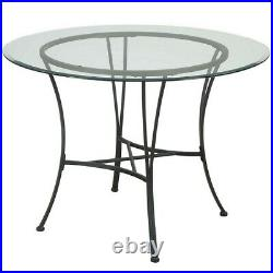 Dining Room Table and Chairs 5 Piece Set Dinner Glass Top Metal Furniture Round