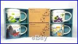 Disney World Starbucks Ceramic 14oz Set of Coffee Mugs All 4 Parks Together YAH
