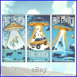 Eric Church CALGARY CAN 2019 AP Complete Set of ALL 3 Poster Prints #/40 Sci-Fi
